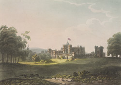 Alnwick Castle and gardens, from the south east